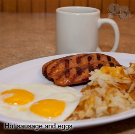Hot sausage and eggs